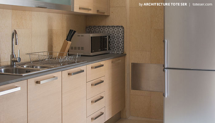 Kitchen of the 3 bedroom apartment in Chiado, Lisbon