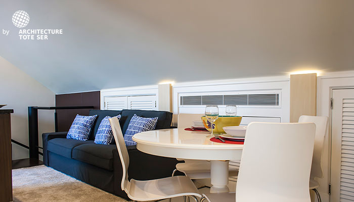 Living and dining room of the 2 bedroom duplex apartment in Chiado, Lisbon