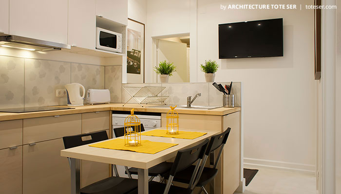 Kitchenette of the 3 bedroom apartment in Chiado, Lisbon