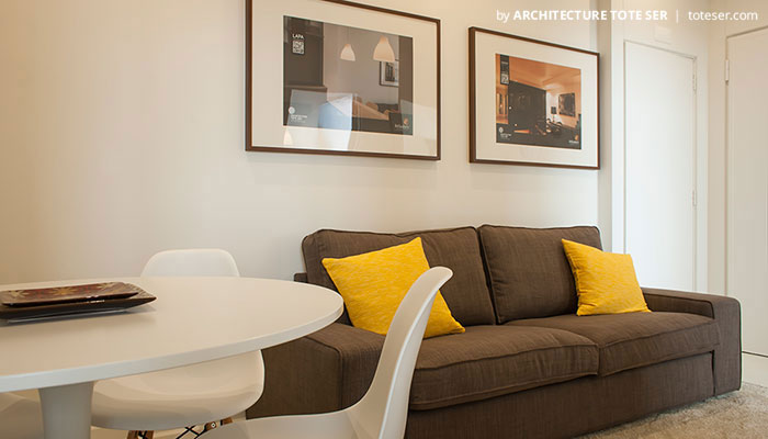 Living room of the 3 bedroom apartment in Chiado, Lisbon